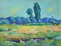 Пейзаж с двумя тополями