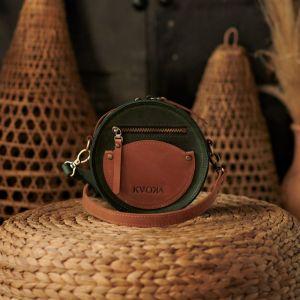 Женские сумки ручной работы Круглая сумка Цвет: зелёный-кемел