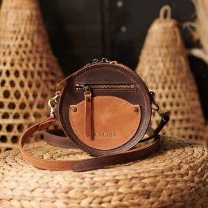 Женские сумки ручной работы Круглая сумка Цвет: коричневій-кемел