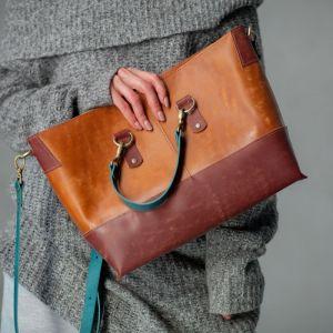 Женские сумки ручной работы Шопер с двумя короткими ручками и с длинным ремешком через плечо