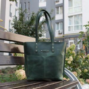 Повседневные женские сумки Шопер с двумя ручками кожаный. Цвет зелёный