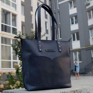 Повседневные женские сумки Шопер с двумя ручками кожаный. Цвет синий
