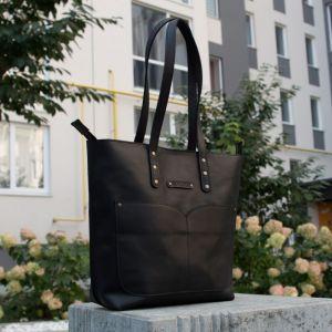 Повседневные женские сумки Шопер с двумя ручками кожаный. Цвет чёрный