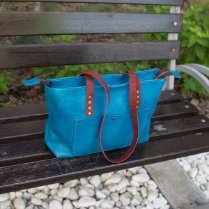 Женские сумки ручной работы Мини-шопер кожаный голубого цвета