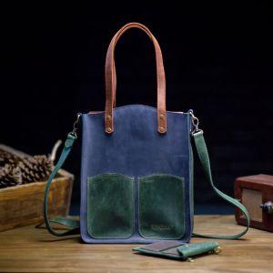 Женские сумки ручной работы Высокий шопер из кожи синего цвета