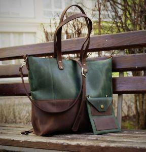 Повседневные женские сумки Шопер 3 в 1 из натуральной кожи