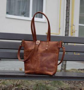 Жіночі сумки ручної роботи Шкіряний шопер з двома кишенями