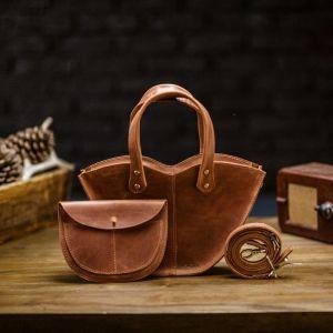 "Вечерние женские сумки Кожаная сумка через плечо с двумя ручками ""Love"" (цвет ""виски"")"