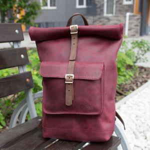 Рюкзак ручной работы Рюкзак скрутка кожаный Rolltop бордовый