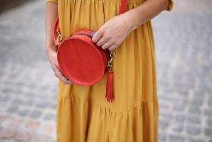 Женские сумки ручной работы Круглая красная сумка из кожи