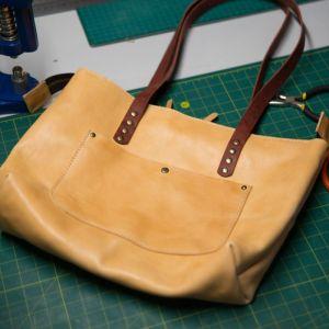 Жіночі сумки ручної роботи Міні-шопер шкіряний колір натуральний
