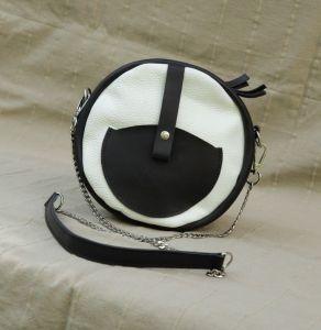 Вечерние женские сумки Круглая сумка чорно-белая