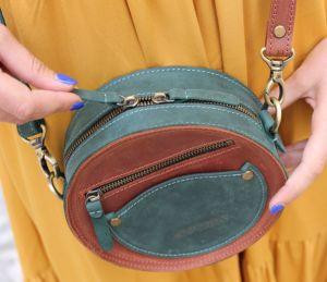 Женские сумки ручной работы Кожаная руглая сумка коричнево-зелёная