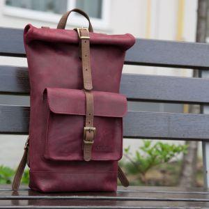 Сумки ручной работы Городской рюкзак-скрутка бордового цвета
