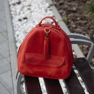 Рюкзак ручной работы Красный кожаный рюкзак