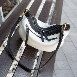 """Жіночі сумки ручної роботи Сумка """"Місяць"""" чорно-біла шкіряна"""