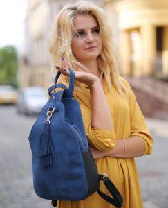 Рюкзак ручной работы Рюкзак из кожы синий