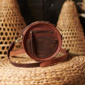 Женские сумки ручной работы Сумка круглая Цвет виски-коричневый