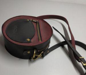 """Вечерние женские сумки Круглая сумка """"two color"""" бордово-чёрная"""