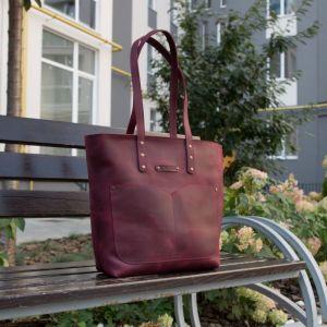 Повседневные женские сумки Шопер с двумя ручками кожаный. Цвет бордовый