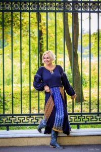 Вязаное жаккардовое платье Екатерина