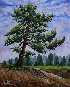 Нарисованные картины «Дерево на склоне»
