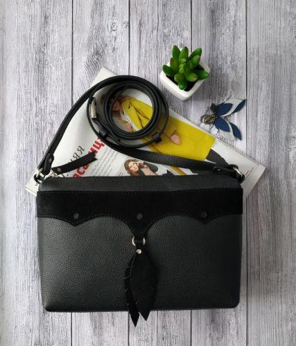 Женская кожаная сумочка кросбоди с замшевыми перышками