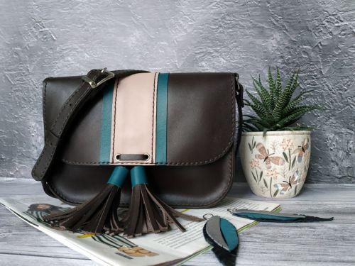 Шкіряна жіноча сумочка на плече