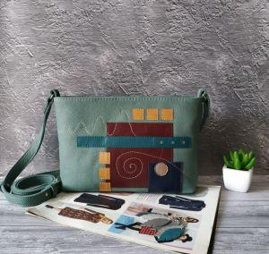 Вироби зі шкіри ручної роботи Шкіряна жіноча сумка кросбоді Абстракція