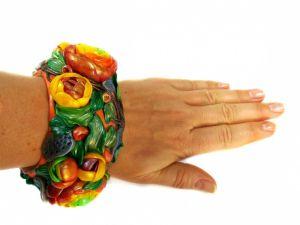 """Браслеты ручной работы Браслет из полимерной глины """"Ранункулюсы"""""""
