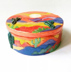 """Ornamental boxes Дерев'яна шкатулка """"Мексиканський пейзаж з кактусами"""""""