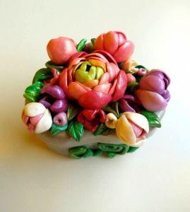"""Ornamental boxes Квіткова шкатулка  для обручок у формі серця """"Ранункулюс"""""""