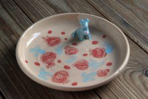 """Керамика ручной работы Тарелка, серия """"Сказочные звери"""". Мышонок."""