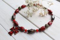 """Ожерелье из керамики и стекла """"Святочное"""""""