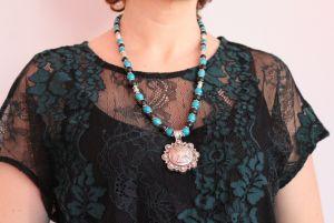 """Ожерелье из бирюзы Ожерелье из бирюзы и шунгита """"Морские вечера"""""""
