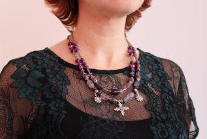 """Ожерелье из варисцита Ожерелье из аметиста, агата, Варисцит """"Фиолетовый бриз"""""""