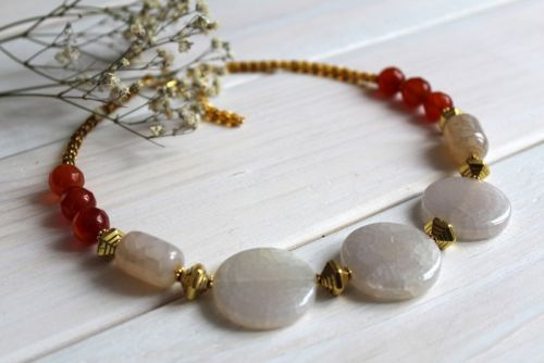 Ожерелье из агата и сердолика Медовый Цвет