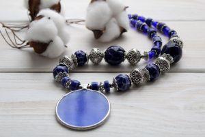 """Ожерелье из керамики Ожерелье """"Ультрамарин"""""""