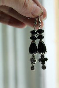 Чёрные сережки Черные длинные серьги с агатов