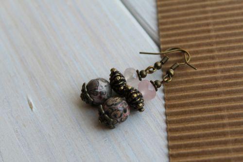 Сережки з яшми та рожевого кварцу