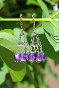 Фіолетові сережки Сережки з натурального аметисту