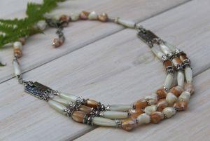 """Ожерелье из натурального перламутра двух цветов """"Лебедка"""""""