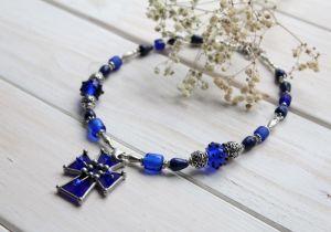 """Ожерелье из лазурита Ожерелье из новогодней коллекции #DzvinkaDraft """"Рождественская ночь"""""""