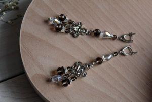 Сережки довгі з кристалами