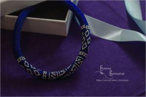 Ожерелья и колье ручной работы Темно синие с серебром