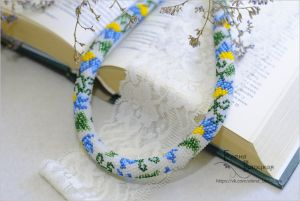 Beaded necklaces Волошки