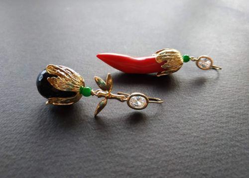 Серьги из коллекции «Pepper&Eggplant» Арт. E2419P&E