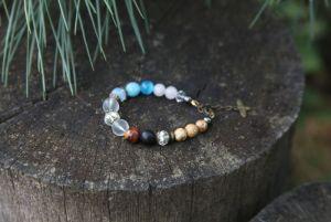 Браслет из яшмы Женский браслет с хрустальными бусинами и натуральными камнями