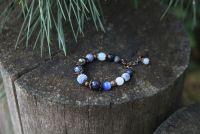 Синий женский браслет из агатов и авантюрина