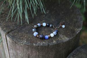 Браслет из лазурита Синий женский браслет из агатов и авантюрина